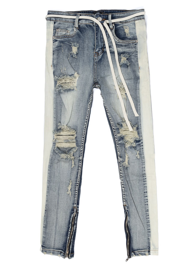 Quần nữ STRIPES SKINNY JEANS IN WASH DARK BLUE WITH ZIPS