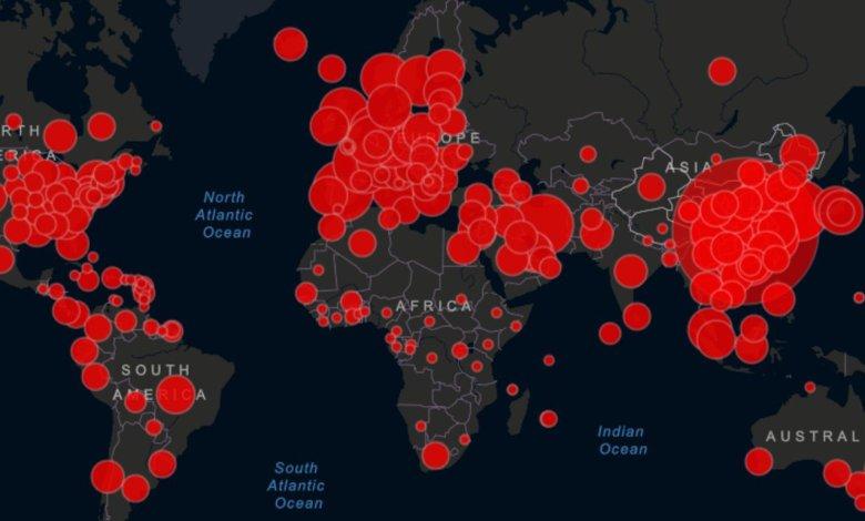 Mapa del coronavirus en el mundo.
