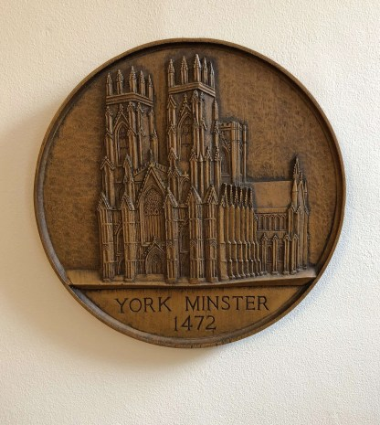 York Minster oak plaque, hand-carved