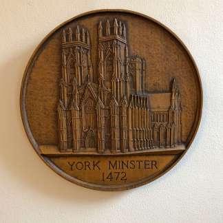 York Minster oak plaque, hand-carved