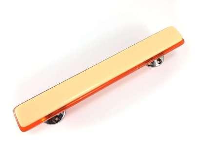 Vintage lucite door handle in cream and orange