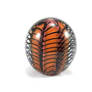 orange and black glass vintage paperweight