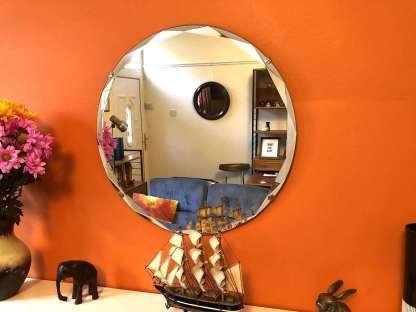 vintage diamond cut round mirror