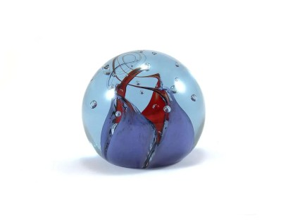 blue glass vintage paperweight