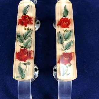 Vintage acrylic rose door handles