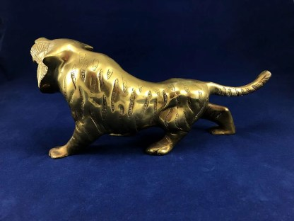 vintage brass tiger