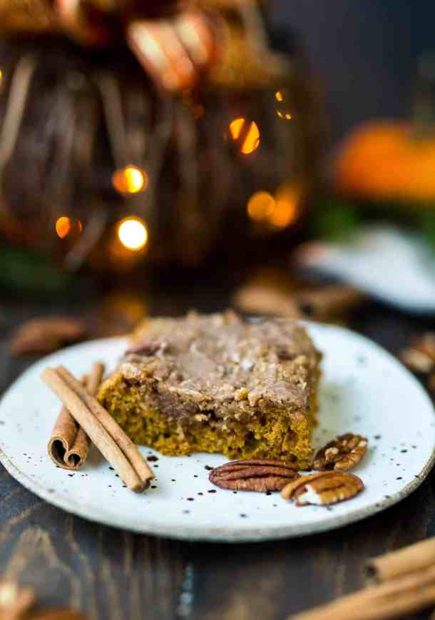 Pumpkin Spice Pecan Streusel Coffee Cake with Cinnamon Spiced Glaze | Salt & Baker