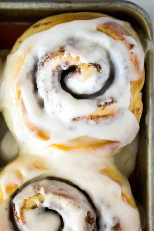 Warm frosted cinnamon rolls.