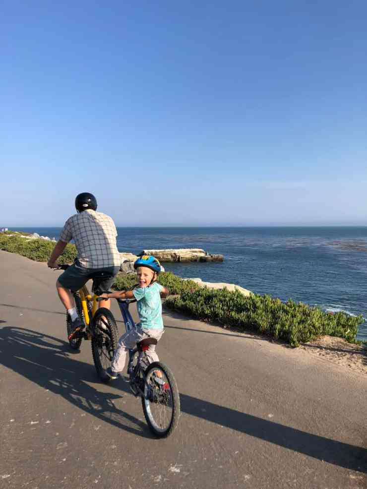 little boy riding on a bike behind his dad on a path next to the ocean