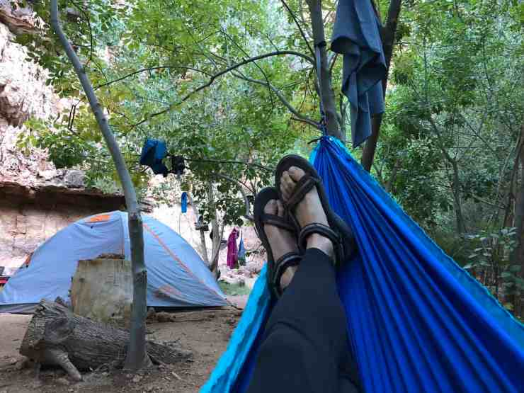 Relaxing in the campground at Havasu Falls