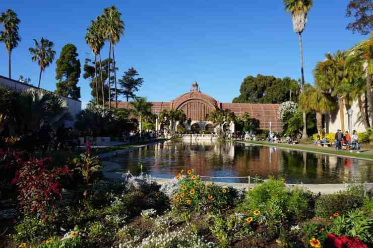 The botanical building in balboa park. Beautiful flowers next to the lily and and backed by the botanical building