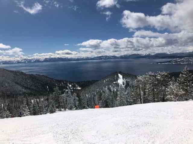looking down at the lake from Diamond Peak in Lake Tahoe