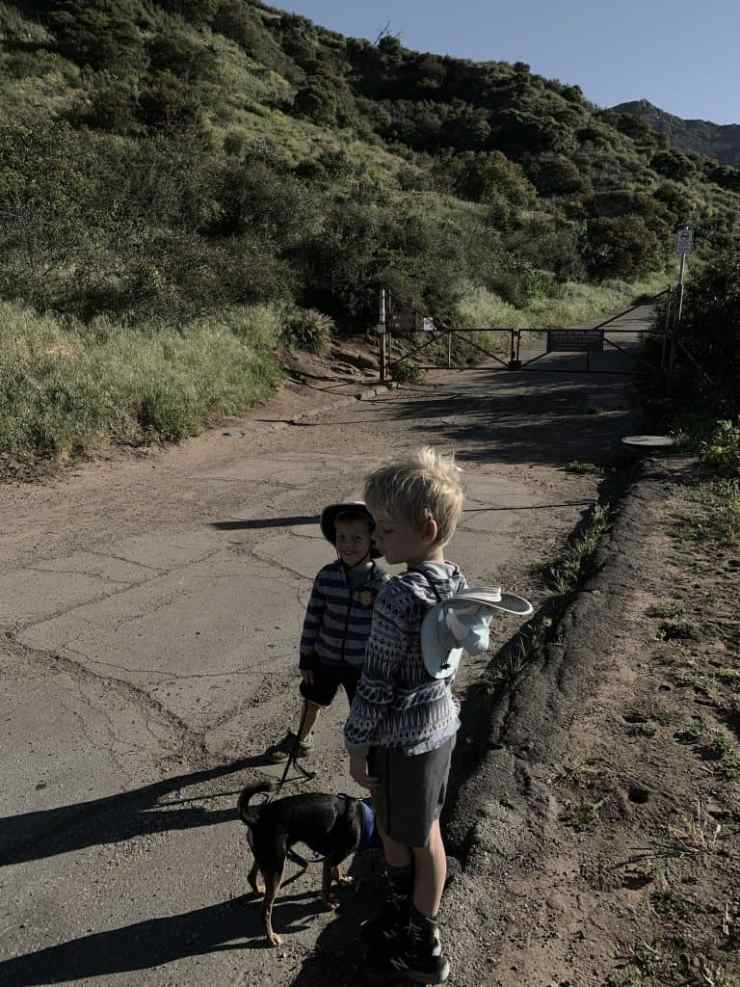 two boys and a dog standing by a fire road gate. The Seven Falls trail in Santa Barbara starts off on a paved road.
