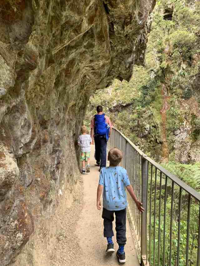 Walking under a cliff on the Windows Walk in New Zealand. This is a great hike for kids if you're in the Coromandel region of New Zealand