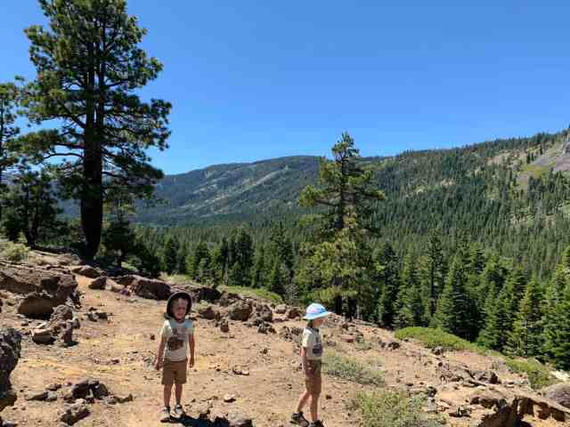 kids hiking up to eagle rock in lake tahoe
