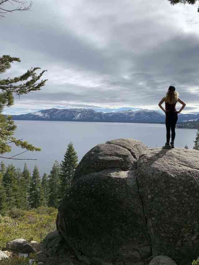 looking out at the lake from the rubicon trail