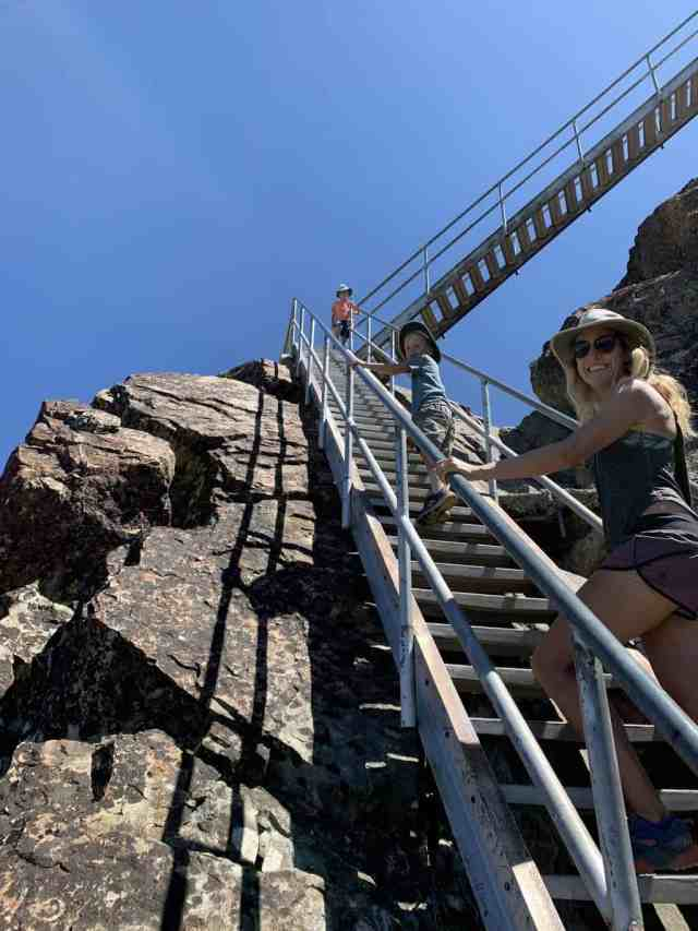 stairs leading up to the fire lookout in Lakes Basin, California