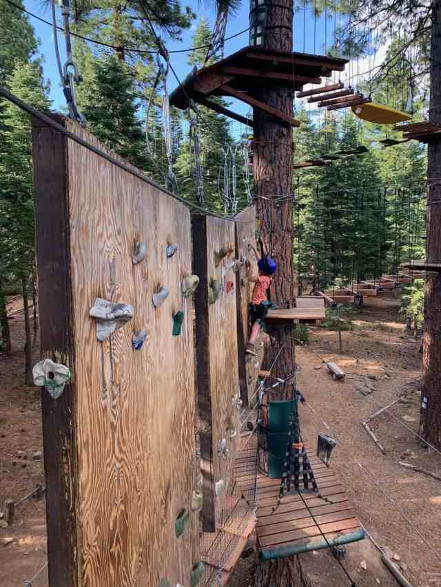 ropes course near tahoe vista in lake tahoe