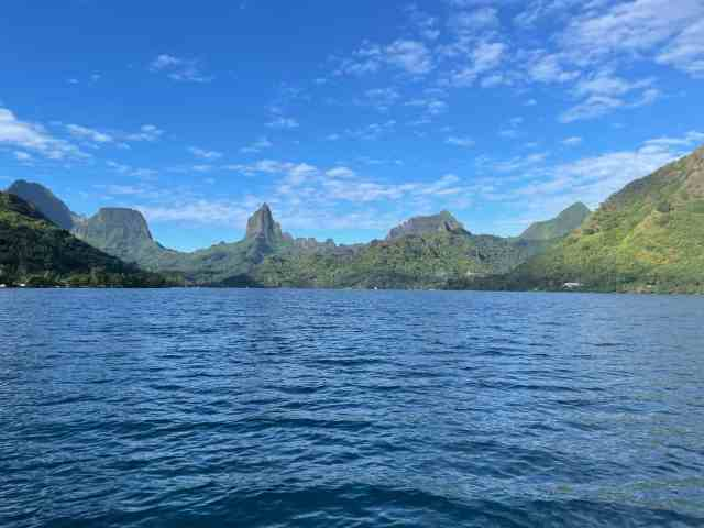 view of the island from a boat in tahiti
