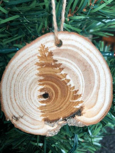 pine tree ornament laser engraved