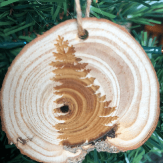 pine tree ornament laser engraved