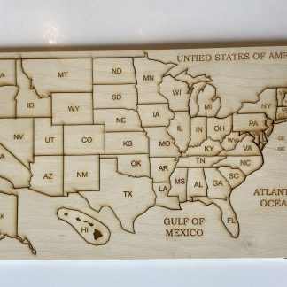 USA wood map learning puzzle