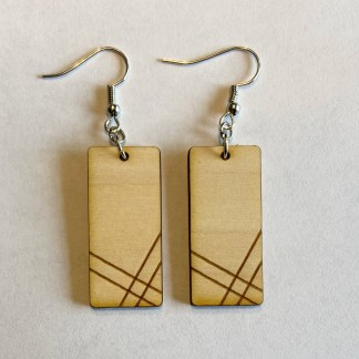geometric statement laser engraved earrings