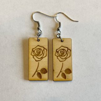 bar earrings with rose laser engraved