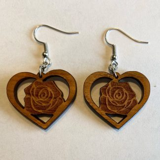 laser engraved rose in a heart earrings