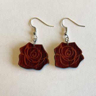 laser engraved rose earrings