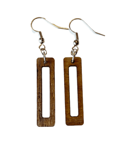 laser cut wood statement dangle earrings