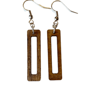laser cut wood statement dangle earrings