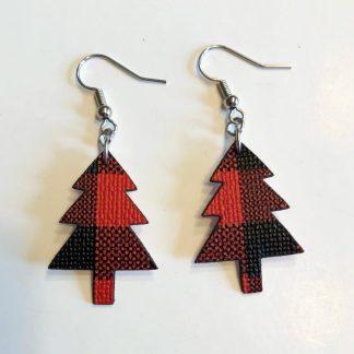Christmas tree buffalo plaid earrings