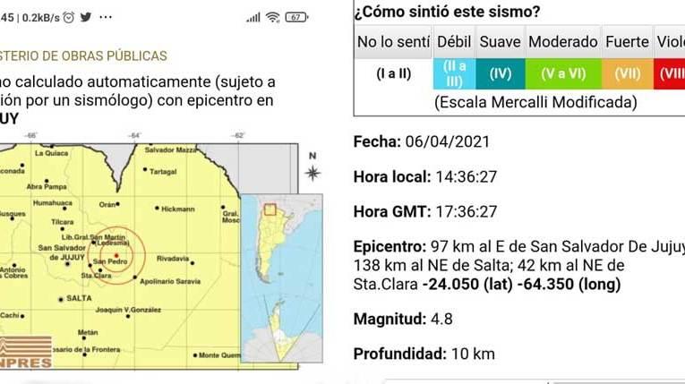 TEMBLÓ EL NORTE El epicentro fue en Jujuy