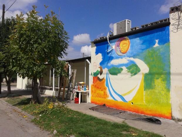 """Artistas locales plasmaron una obra de arte en el Centro de Jubilados """"Mundo Joven"""""""
