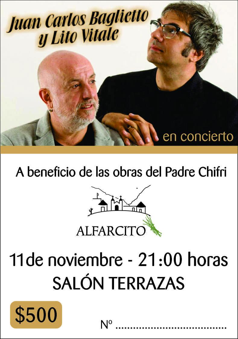 Juan Carlos Baglietto y Lito Vitale juntos a beneficio de Fundación Alfarcito