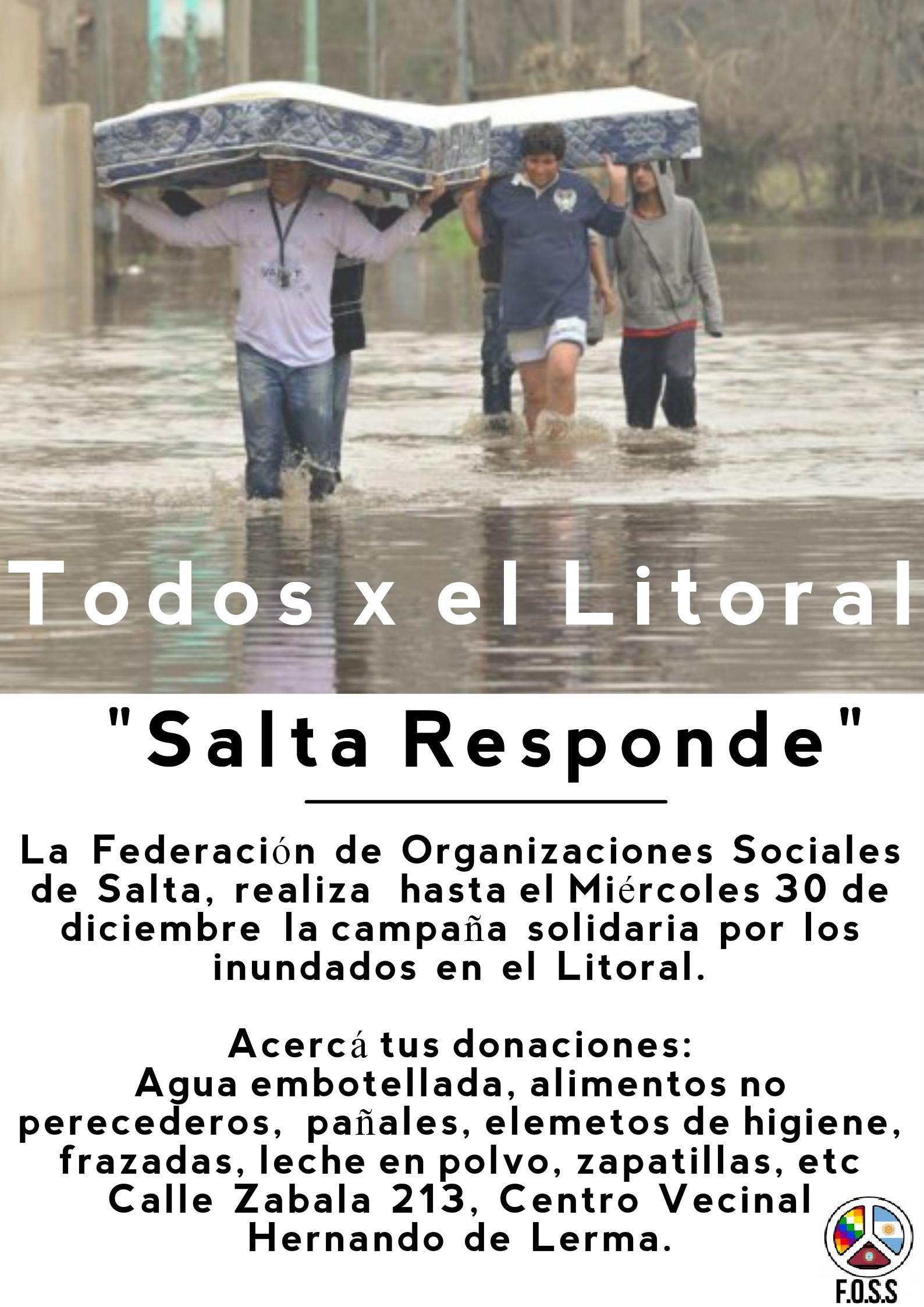 Salta Responde: la campaña  de las ONG para las familias afectadas por el Litoral