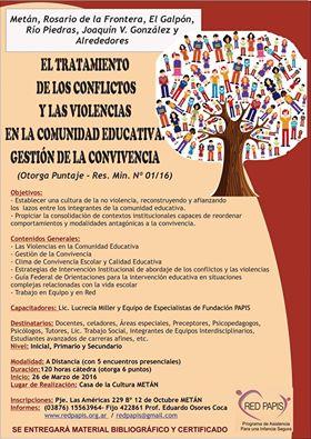 """Curso de Capacitación """"El Tratamiento de los Conflictos y las Violencias en la Comunidad Educativa."""