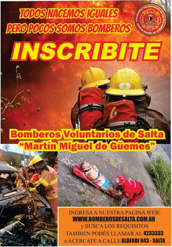 Convocan a salteños a ser bomberos voluntarios del cuartel Martin Miguel de Güemes