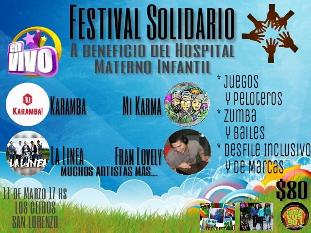 Festival Solidario para cubrir las necesidades sociales del  Hospital Público Materno Infantil