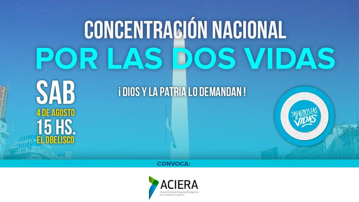 La Alianza Cristiana de Iglesias Evangélicas de la República Argentina (ACIERA) dice  #SiAlas2Vidas