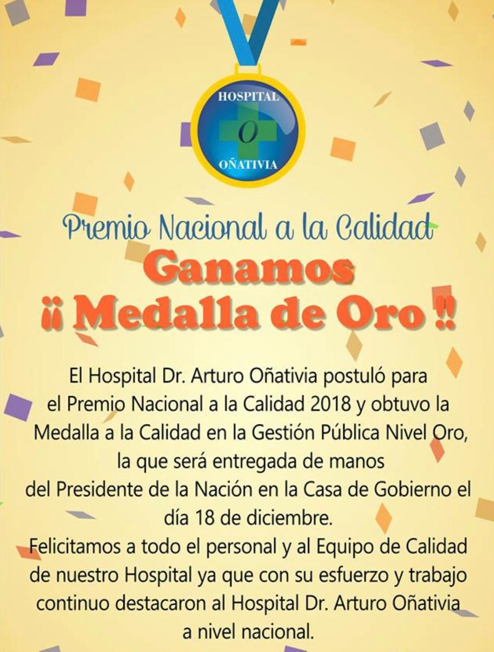 El hospital Oñativia  obtuvo la medalla de Oro por la Calidad en la Gestión Pública