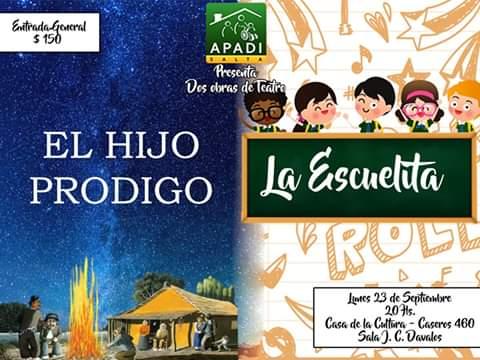 """Presentan """"La Escuelita"""" y """"El hijo pródigo"""" obras de teatro protagonizada por chicos de A.P.A.DI."""