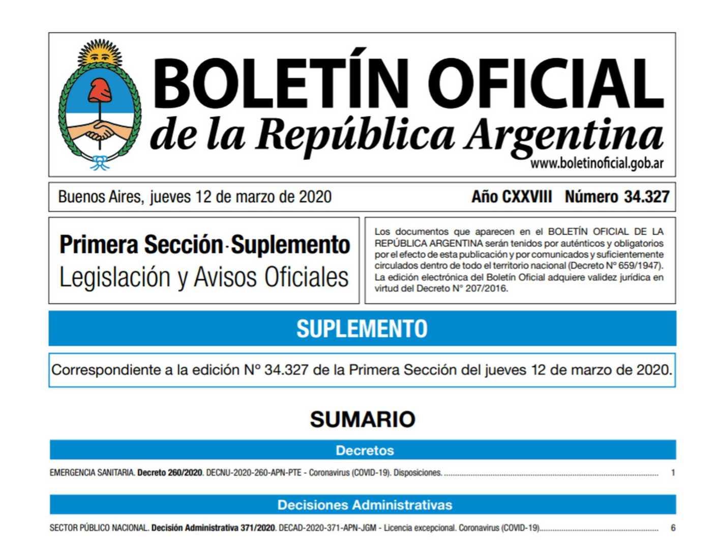 Coronavirus: Por el plazo de un año el Gobierno decretó la emergencia sanitaria en toda la Argentina
