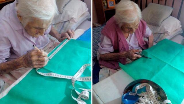 Tiene 96 años y se dedica a fabricar barbijos desde su casa para un hospital