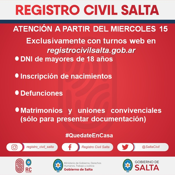 El Registro Civil atenderá solo por turnos