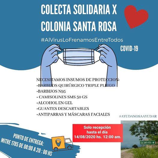 Campaña solidaria para ayudar a los profesionales del hospital de Colonia Santa Rosa