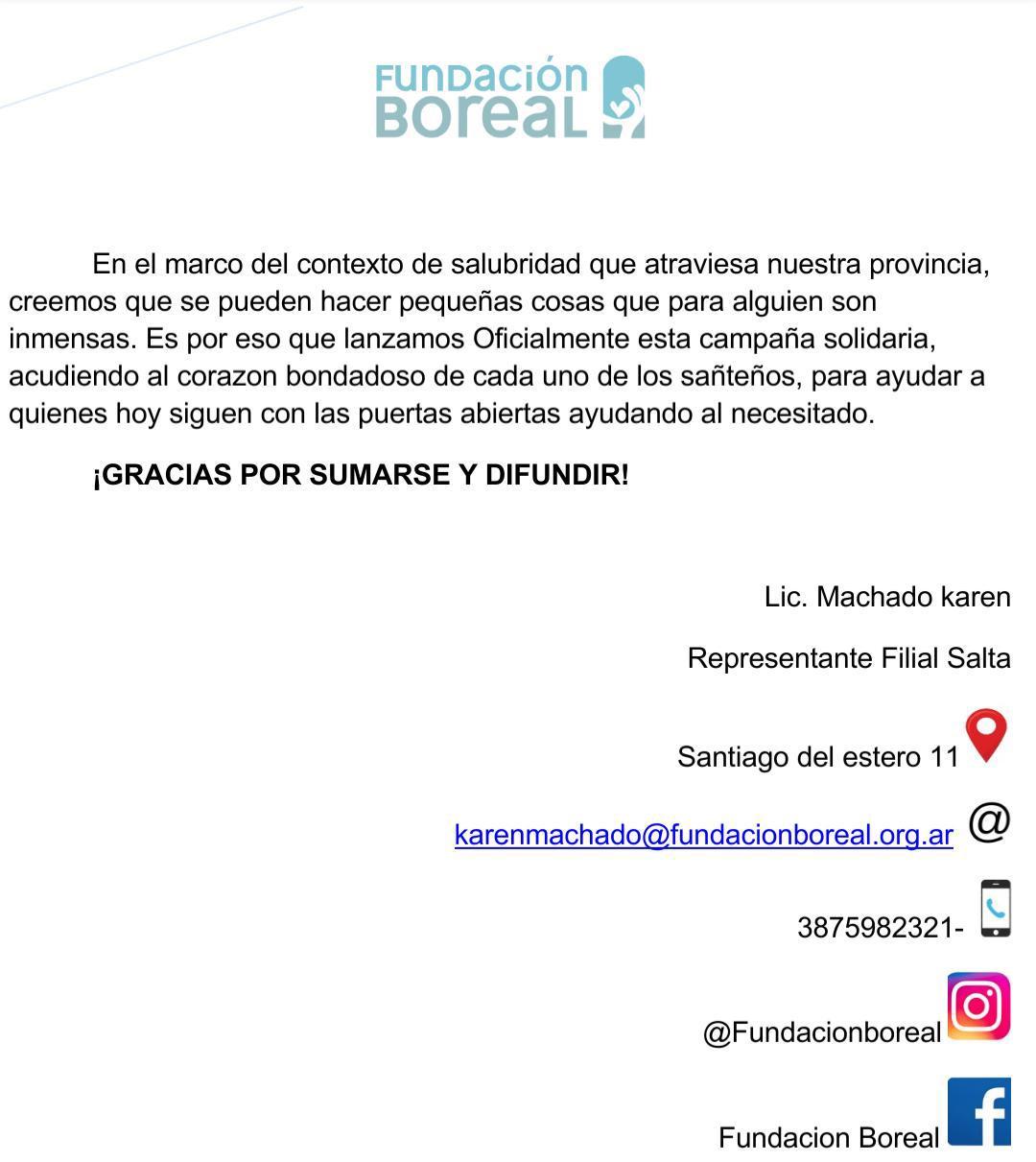 Fundación Boreal inició una #campaña solidaria a beneficio de comedores y merenderos