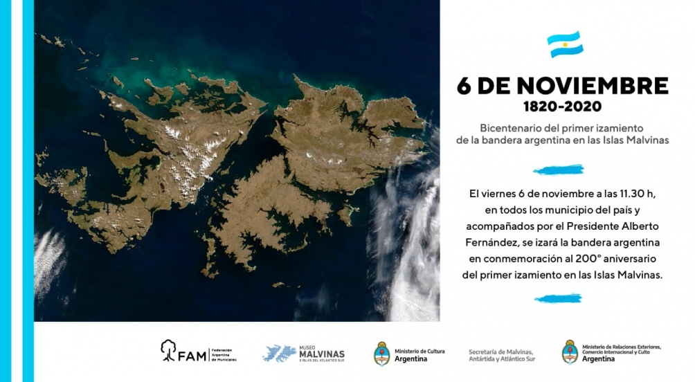Conmemorarán en todo el país el bicentenario del primer izamiento de la bandera nacional en las Malvinas