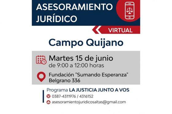 Vecinos de Campo Quijano y Rosario de Lerma podrán acceder al servicio de asesoramiento jurídico